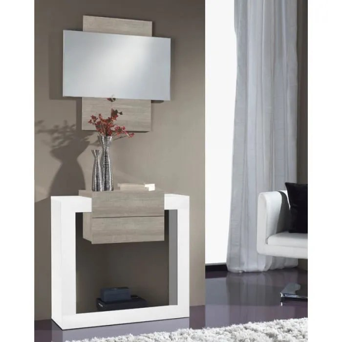 meuble d entree blanc chene clair miroir neema