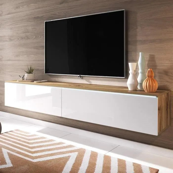 meuble tv meuble de salon kane 180 cm chene wotan blanc brillant avec led style moderne