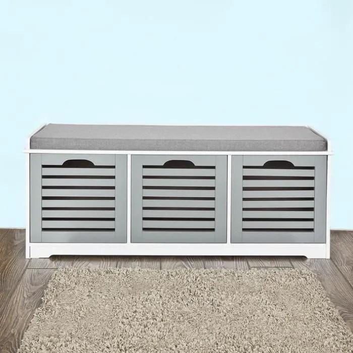 sobuy fsr23 hg banc de rangement avec coussin et 3 cubes meuble d entree confortable l105cmxp35cmxh43cm