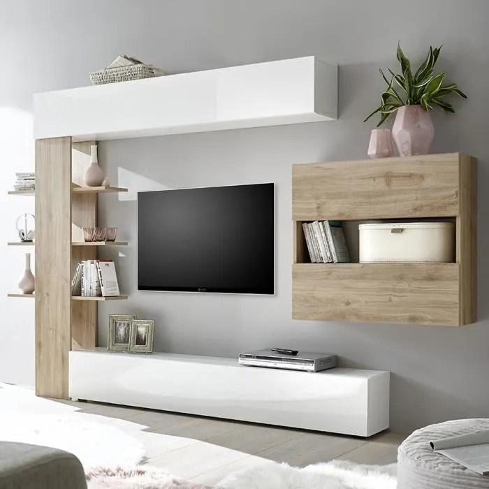 ensemble meubles tv blanc et chene moderne fino 3