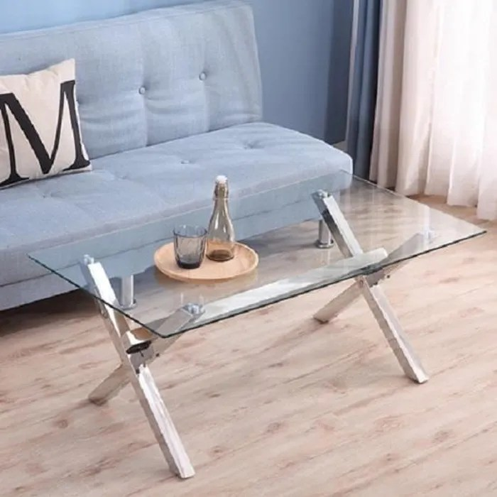 table basse moderne et design verre et inox tursa