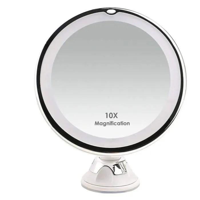 Miroir Grossissant X10 Lumineux Led Avec Ventouse Rotation A 360 Ideal Pour Le Maquillage Des Femmes Et Le Rasage Des Hommes Achat Vente Miroir Soldes Sur Cdiscount Des Le 20 Janvier Cdiscount
