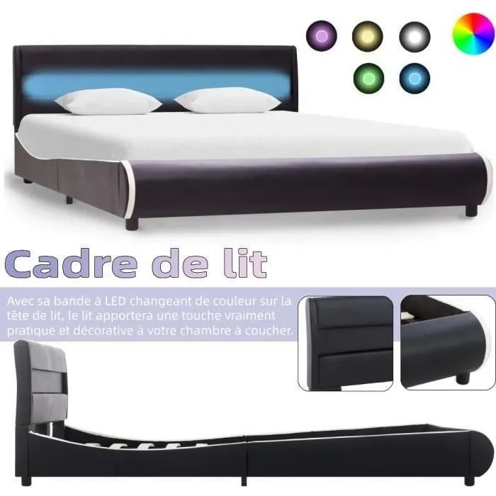 lit grand lit double cadre de lit avec led noir similicuir 140 x 200 cm boh