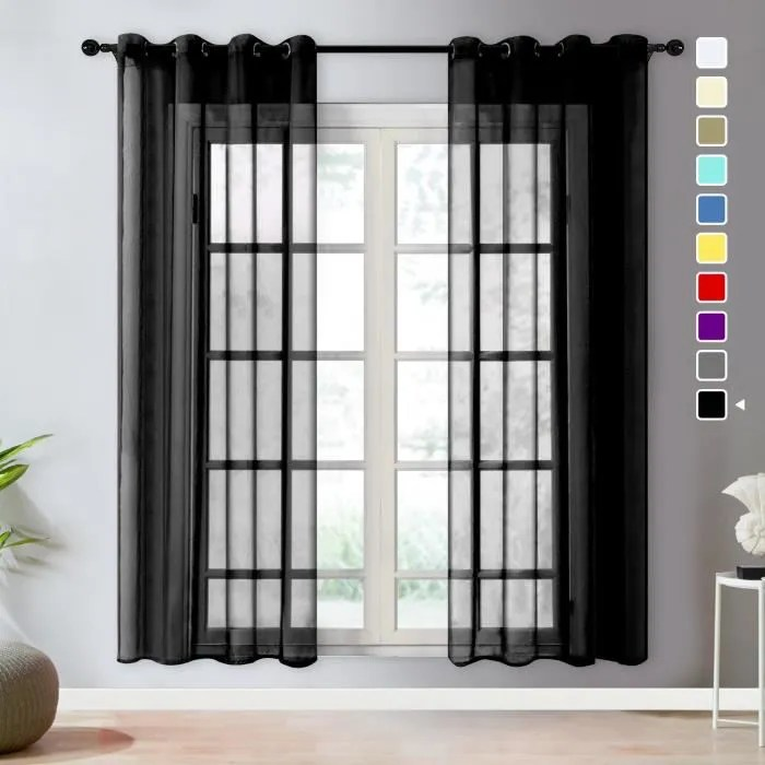 rideau voilage noel 2 panneaux noir 140x260cm
