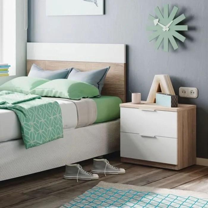 tete de lit 100 cm chevet blanc chene clair houhou bois clair bois tete de lit l 100 x h 50 cm table de chevet l 50