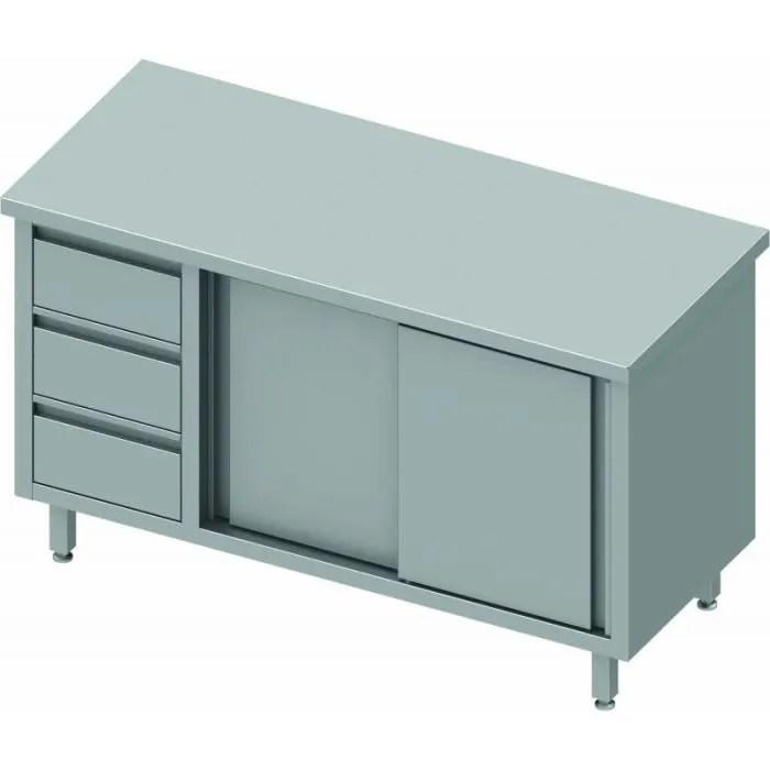 meuble bas inox porte coulissante a droite 3 tiroirs gamme 800 stalgast 1800x800 800