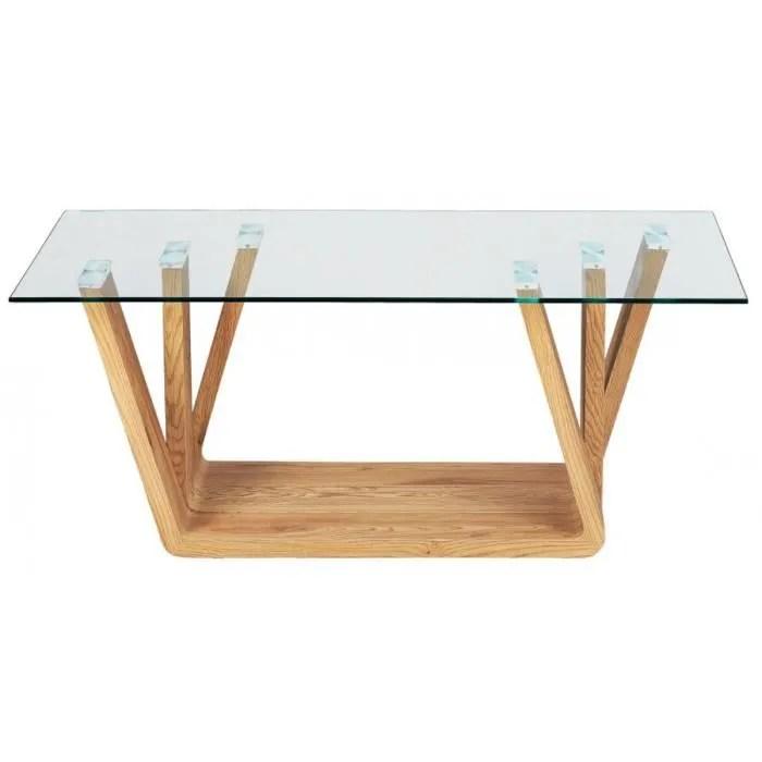 table basse en imitation chene sauvage et tablette de verre l110 x p45 x h60 cm