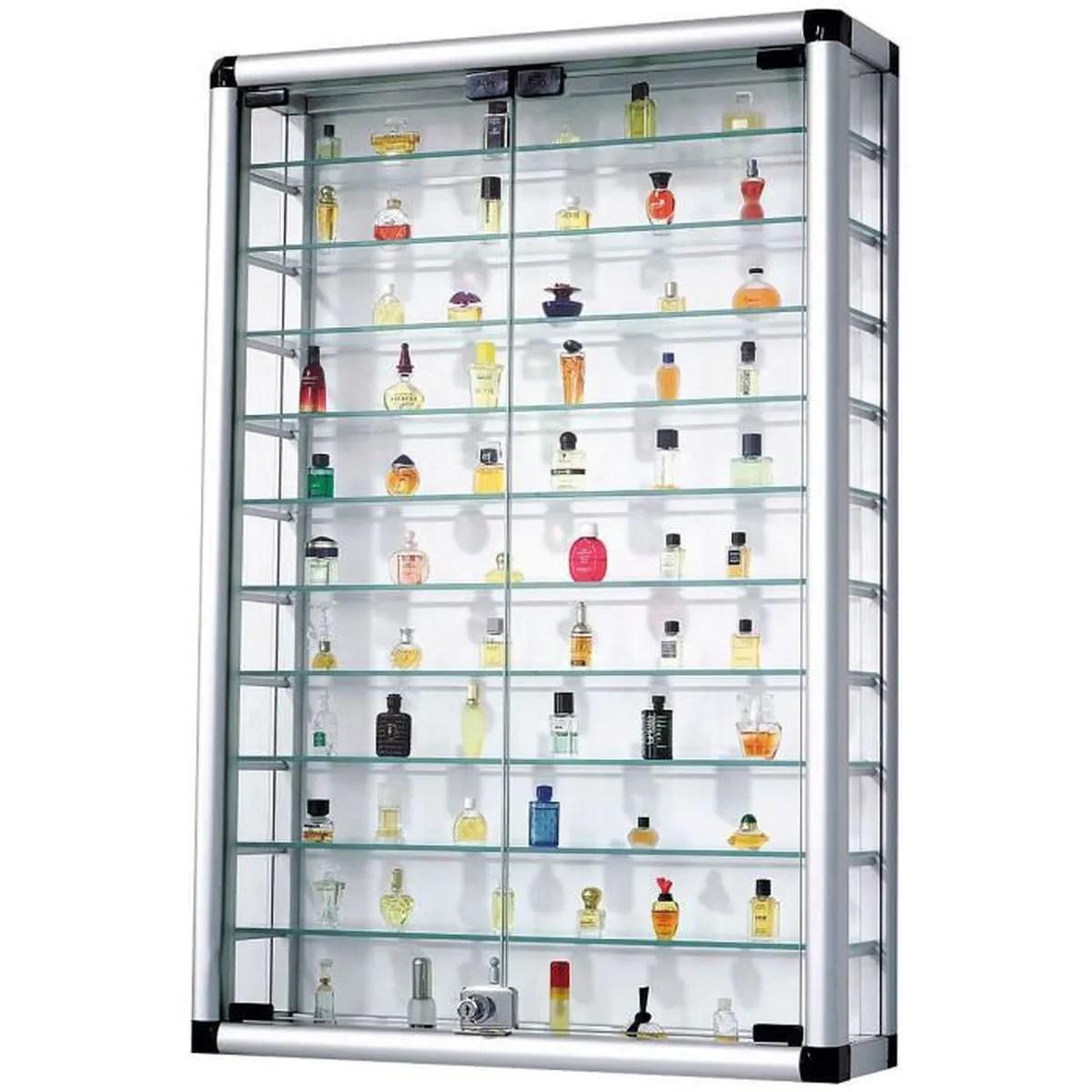 pureday vitrine pour collection en aluminium et verre avec fermeture a cle 60 x 94 cm