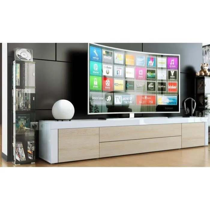 meuble tv blanc bois brut et blanc
