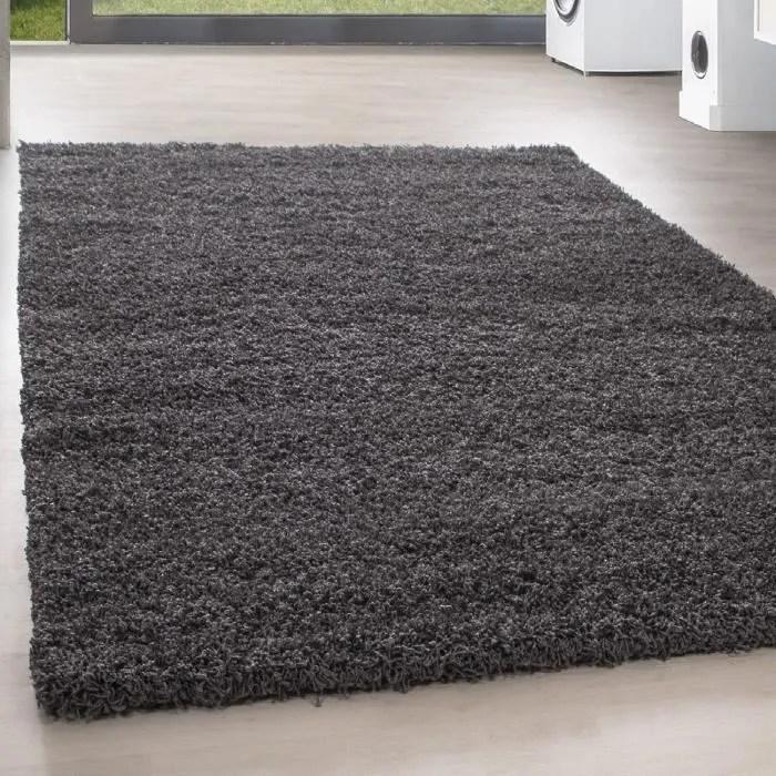 shaggy shaggy long pile pas cher tapis gris salon