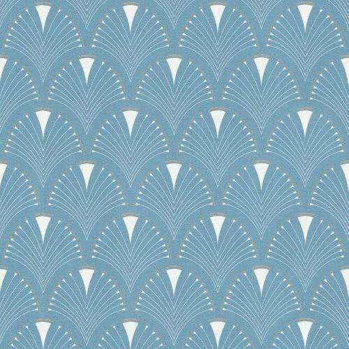 papier peint art moderne art deco fan bleu blanc rasch 433234
