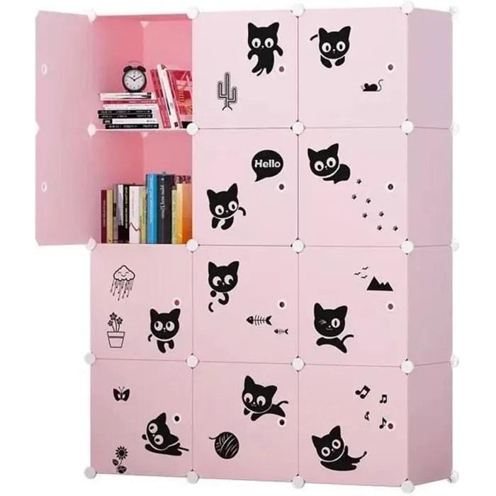 armoire etagere plastique enfants 12 cubes rose armoires meubles de rangement pour vetements chaussures jouets chouchou