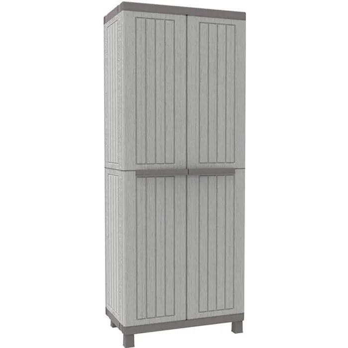 armoire d exterieur en resine gris meuble haut avec etageres pour terrasse 2680