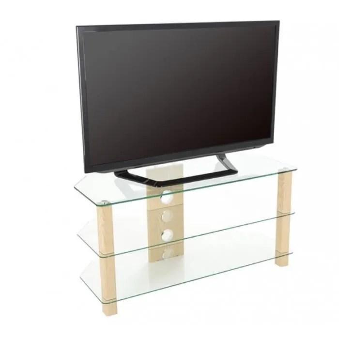 king meuble tv en verre noir pour ecran