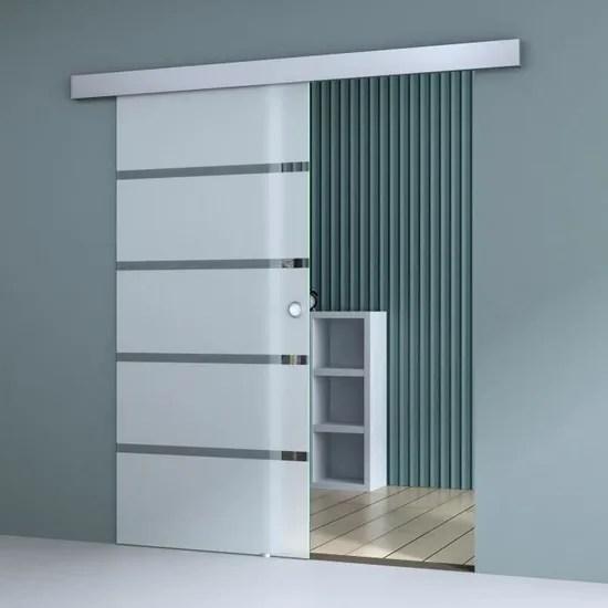 porte coulissante interieur 90 x 205cm sogood amalfi ts11 900 verre de securite avec bandes opaques et poignee ronde