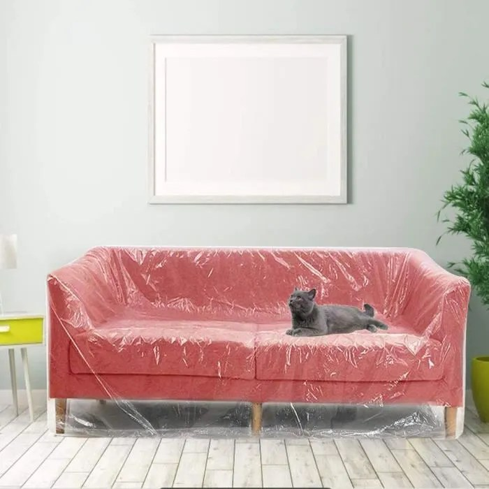 decareta 2 3m housse de canape en plastique tran