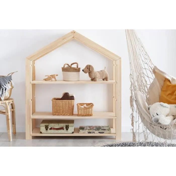 bibliotheque pour une chambre d enfant 40x100x126cm style moderne en bois naturel modele mila