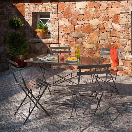 salon de jardin metal bistro taupe 1 table pliante rectangulaire 4 chaises