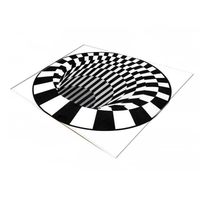 tapis 3d tapis rond illusion tapis noir et blanc