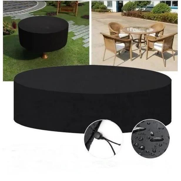 housse de protection etanche pour table ronde de jardin 185 110cm