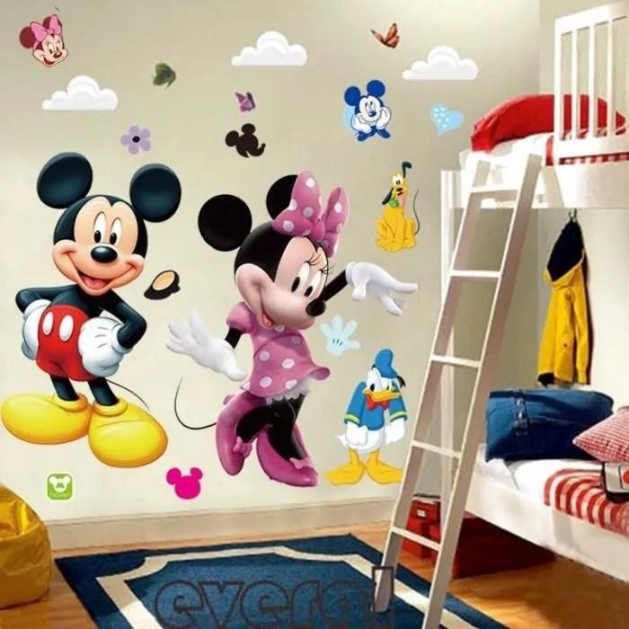 bricolage grand mickey mouse minnie stickers muraux en pvc stickers decoratifs pour enfants