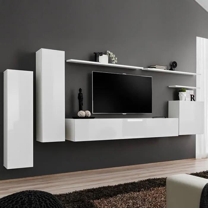 banc tv mural blanc laque andria 3 blanc l 330 x p