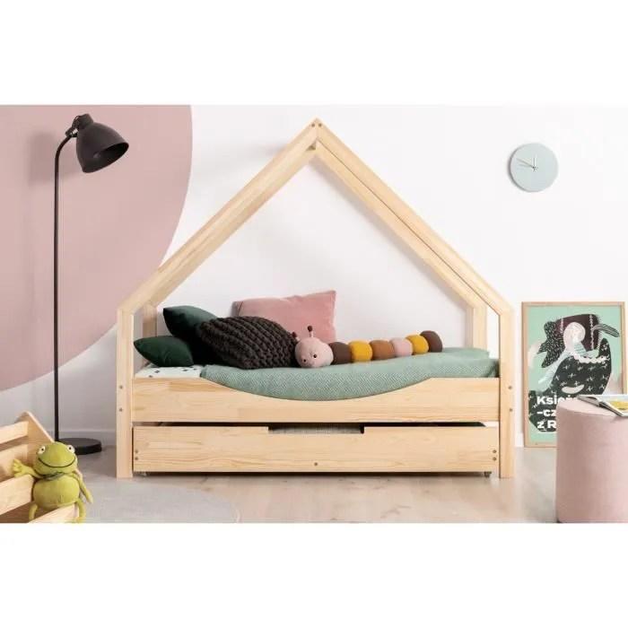lit enfant 90 x 160 cm avec sommier et tiroir 2e couchage possible type cabane en bois naturel modele ce