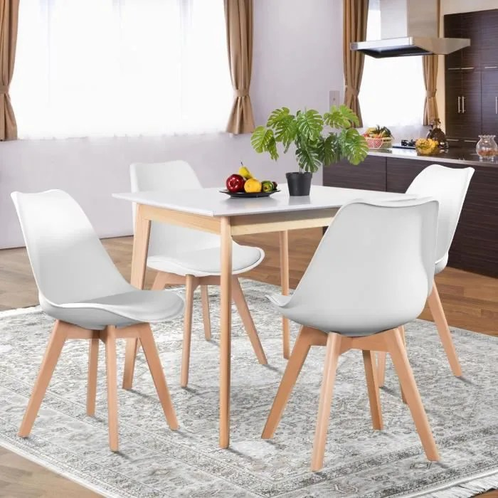 ensemble repas blanc table carree chaises 4 places salle a manger cuisine sejour scandinave