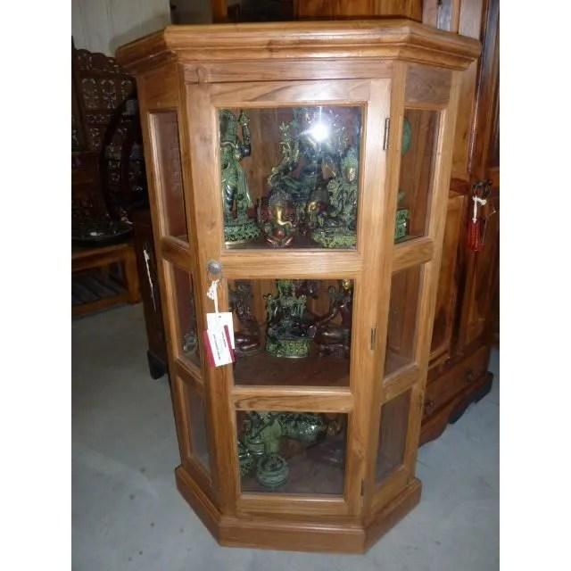 meuble d angle bas teck vitre