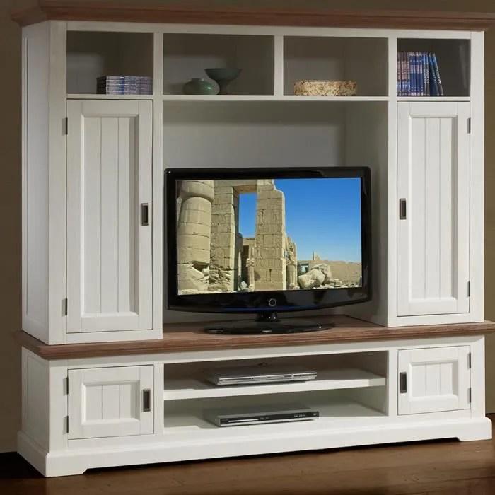 meuble tele mural en bois massif blanc et marron e