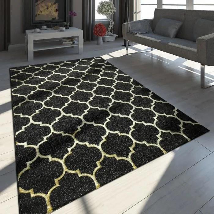 tapis oriental moderne effet 3d motif marocain noir or 160x230 cm