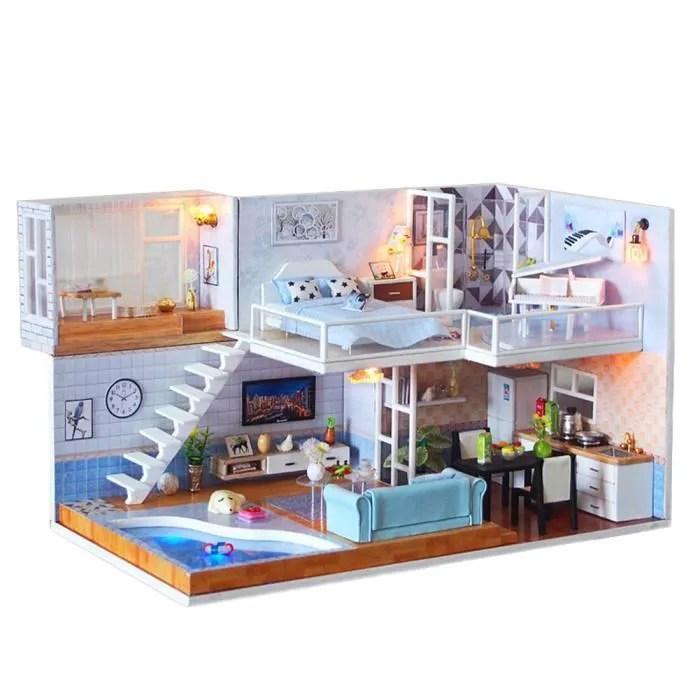 maison miniature a construire kit de maison de poupee diy dollhouse en bois comme image 27 2 15 16 65cm