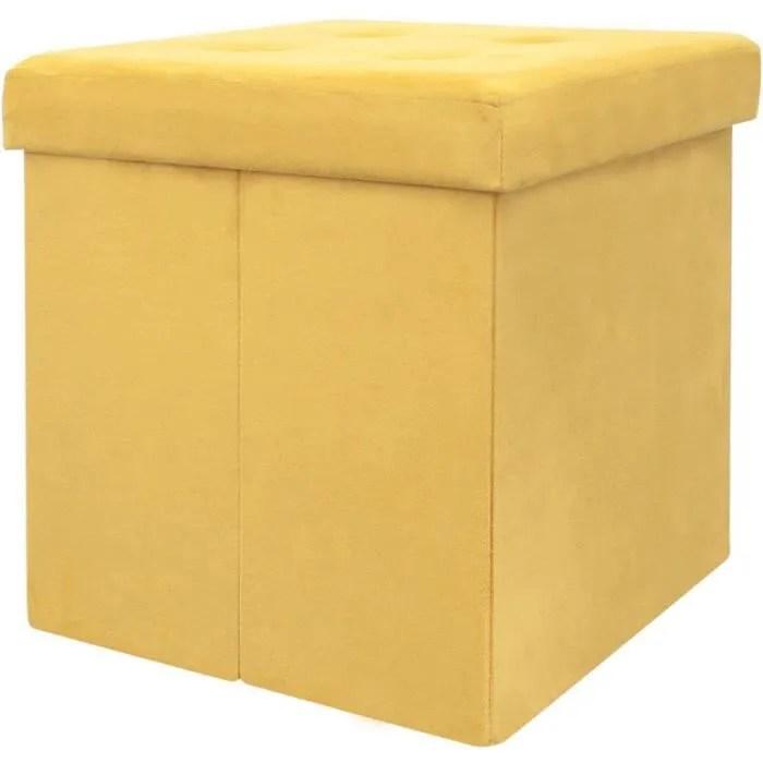 pouf coffre de rangement pliable 37 5x37 5x37 5 cm suedine jaune