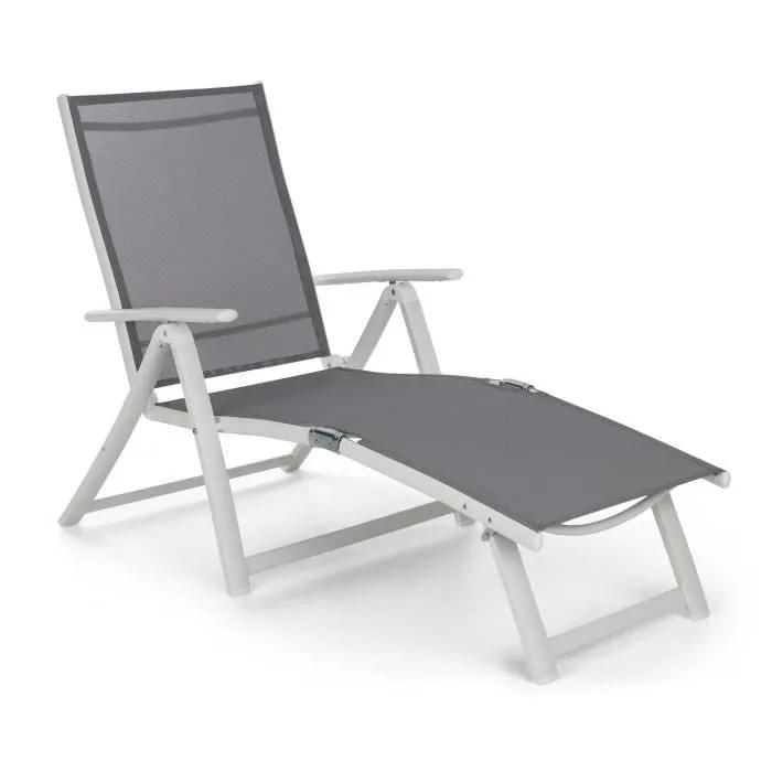 blumfeldt pomporto lounge chaise longue transat bain de soleil reglable 7 positions toile pvc cadre aluminium blanc gris