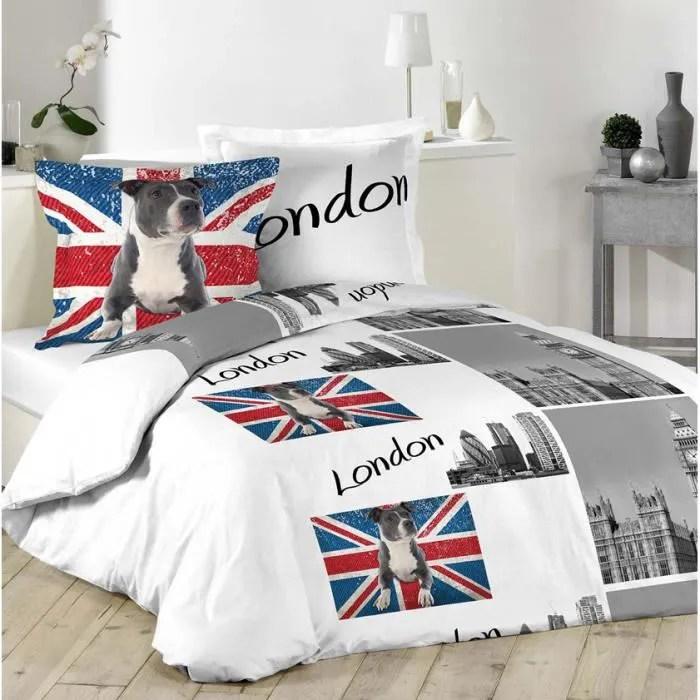 Parure Housse De Couette Enfant London Et Pit Bull Terrier 220x240 100 Coton Union Jack Achat Vente Housse De Couette Seule Cdiscount