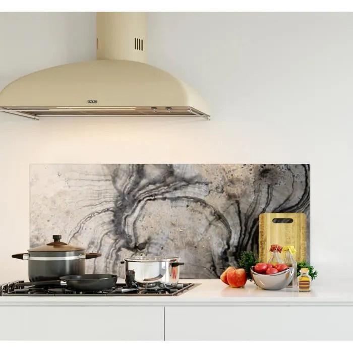 credence de cuisine adhesive en verre de synthese surface texture marbre l 120 x h 50 cm