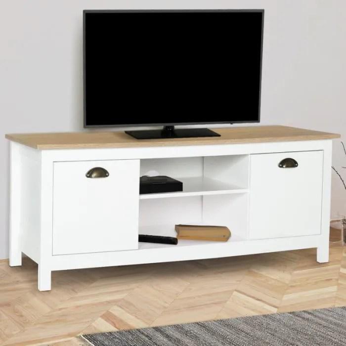 meuble tv vintage igor bois et blanc