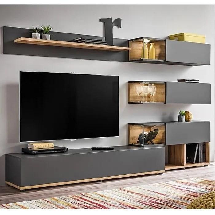 meuble mural tv odin gris et chene 2 4m