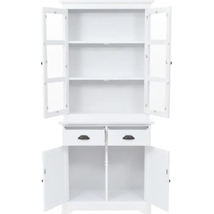 buffet vaisselier blanc et bois