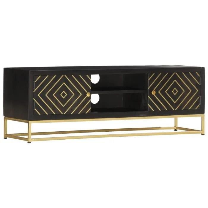 meuble tv table de salon scandinave table basse bois pour bureau tv noir et dore 120 x 30 x 40 cm bois massif de manguier