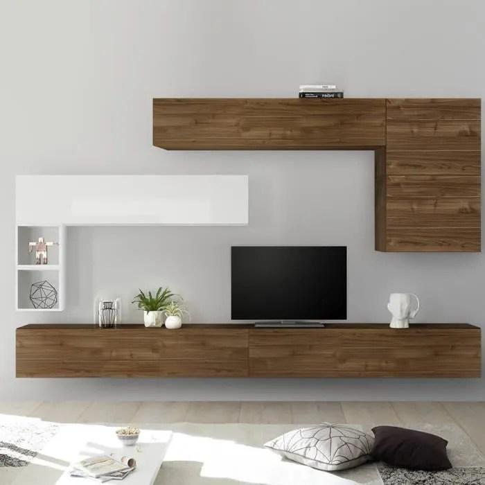 ensemble meuble tv mural bois et blanc piana marro