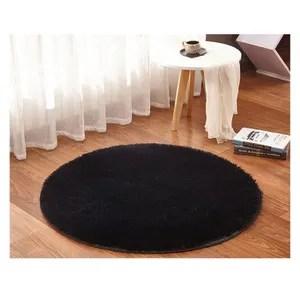 tapis rond noir cdiscount maison