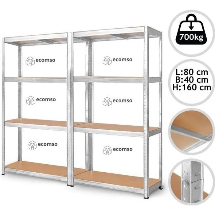 lot de 2 etagere charge lourde 1400 kg total clipsable modulable meuble de rangement metallique etabli d atelier garage 5 tablettes