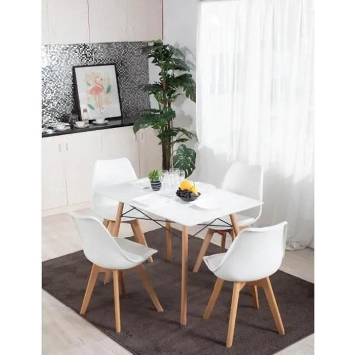 table 4 places rectangle bois blanc