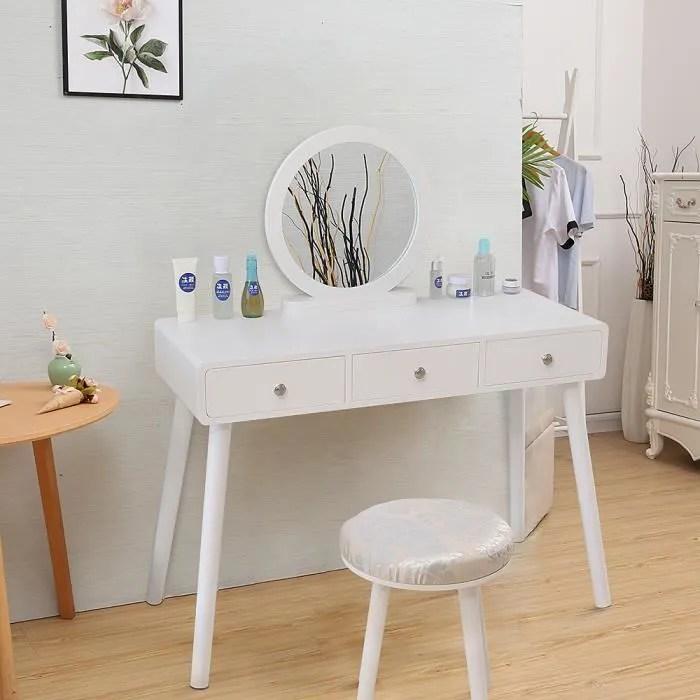 3 tiroirs coiffeuse scandinave blanc meuble de chambre avec miroir et tabouret surface 40x100 cm hauteur 75 50cm