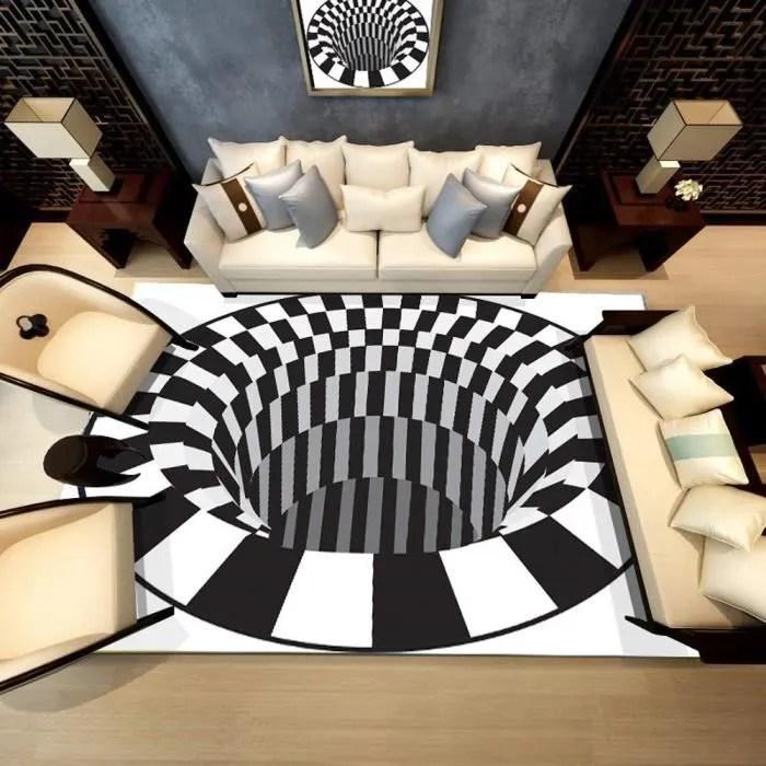 tapis de createur 3d tapis salon design moderne style anti derapant tapis de sol shaggy confortable d 80x120cm