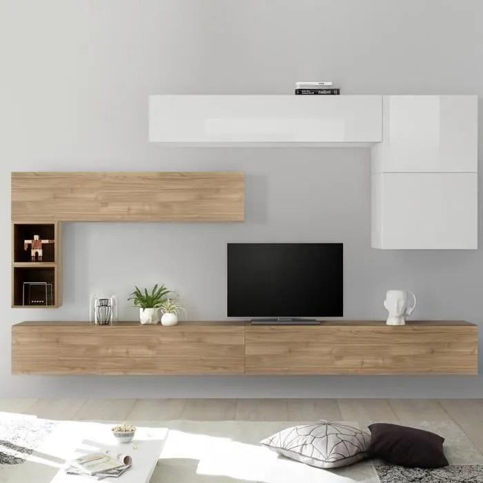 ensemble meuble tv bois et blanc piana marron l 275 x p 30 x h 200 cm