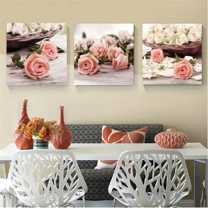 tempsa 3pcs tableau peinture fleur toile moderne art mur maison decor sans cadre