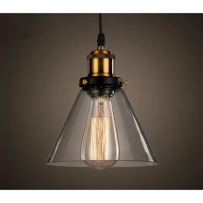 industrielle vintage verre suspensions luminaire retro plafonnier luminaire verre cordon de montage pendant lampe culot e27