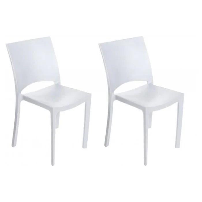 lot de 2 chaises polypropylene blanches milly plastique chaise blanc design